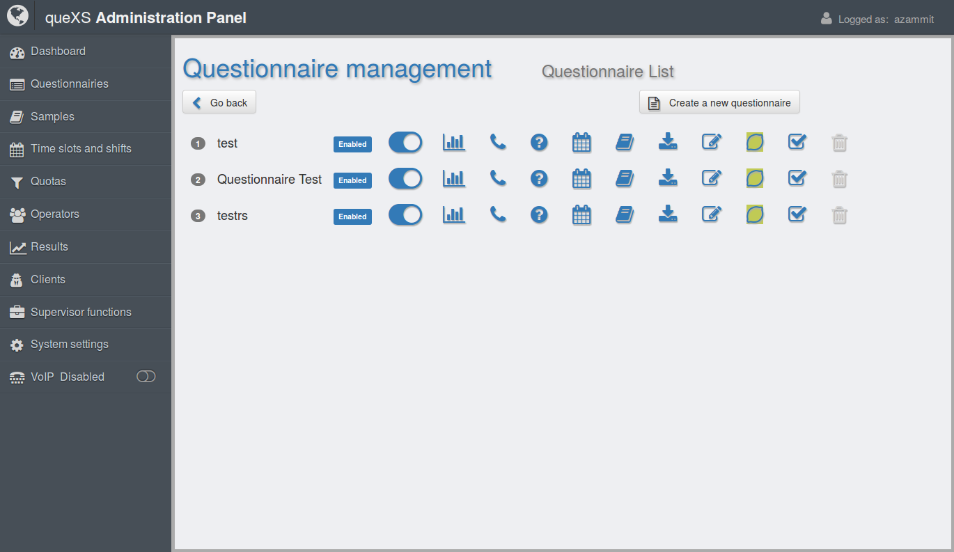queXS Administrative interface